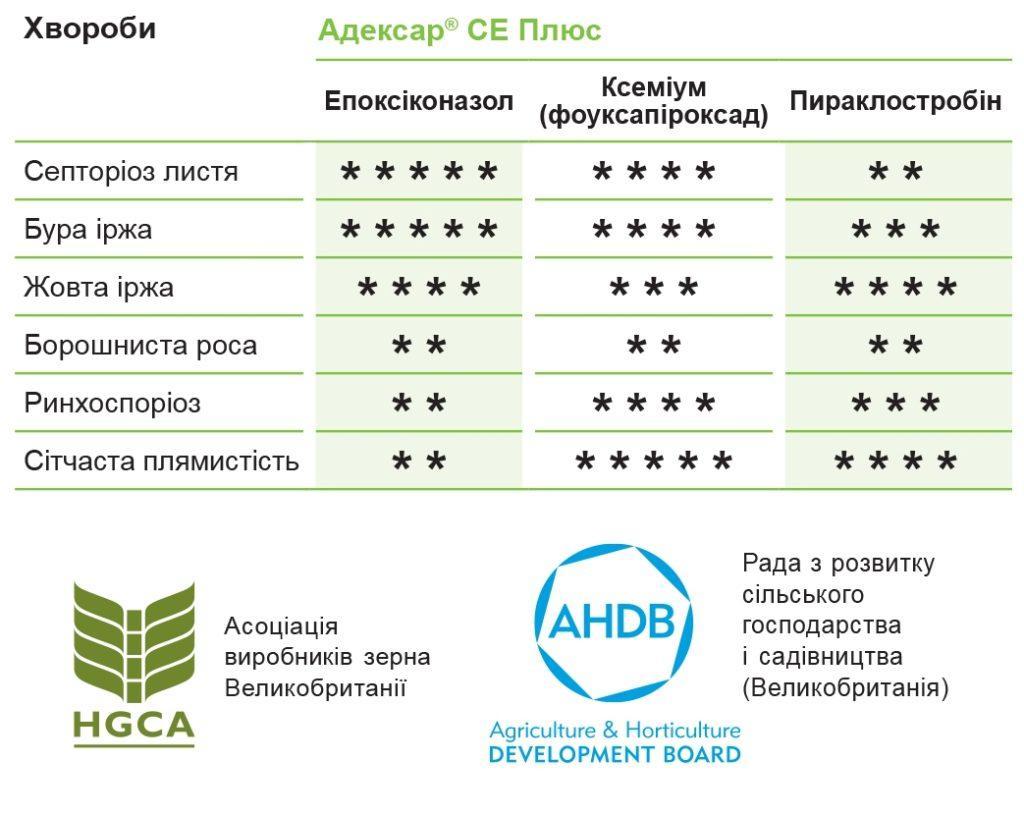 Ефективність Адексар® СЕ Плюс щодо контролю основних хвороб листя пшениці та ячменю
