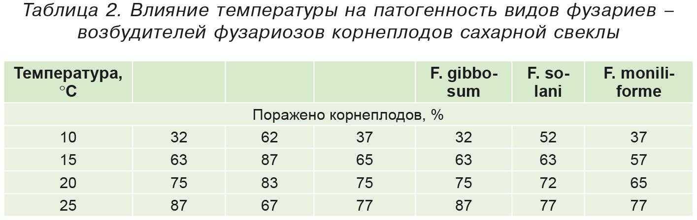 Таблица2. Влияние температуры на патогенность видов фузариев –возбудителей фузариозов корнеплодов сахарной свеклы
