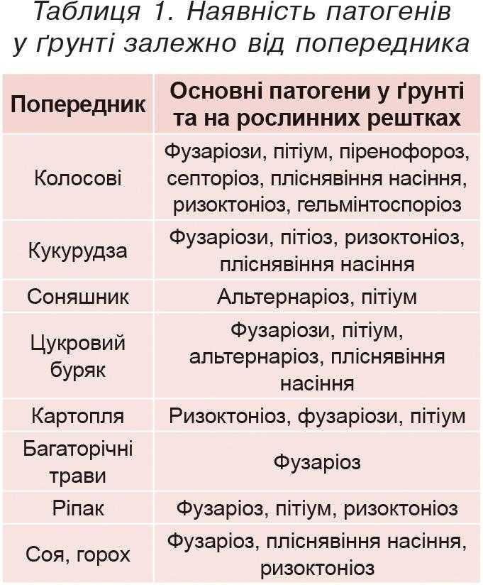 Таблиця 1. Наявність патогенів у ґрунті залежно від попередника