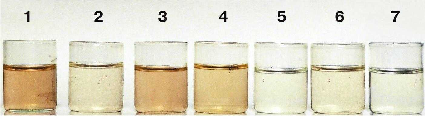 Рис. 2. Фільтрат після взаємодії наважки чорнозему типового із розчинами добрив: 1 – аміачна селітра, 2 – КАС, 3 – карбамід, 4 – амофос, 5 – калій хлористий, 6 – гранульоване вапно, 7 – сульфат магнію