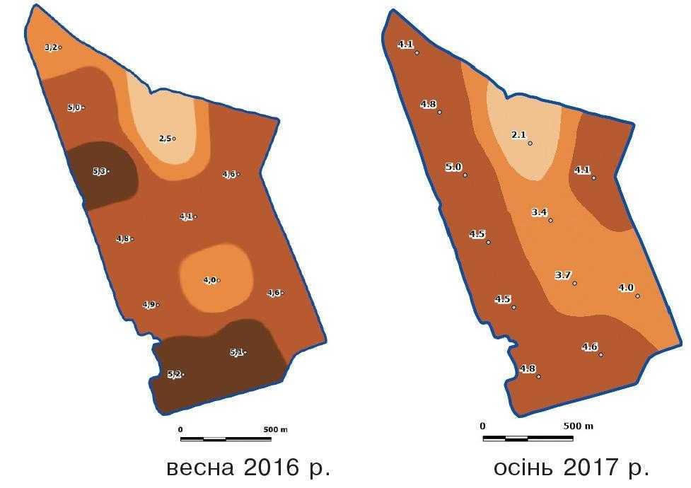 Рис. 3. Картограма вмісту органічної речовини у ґрунті