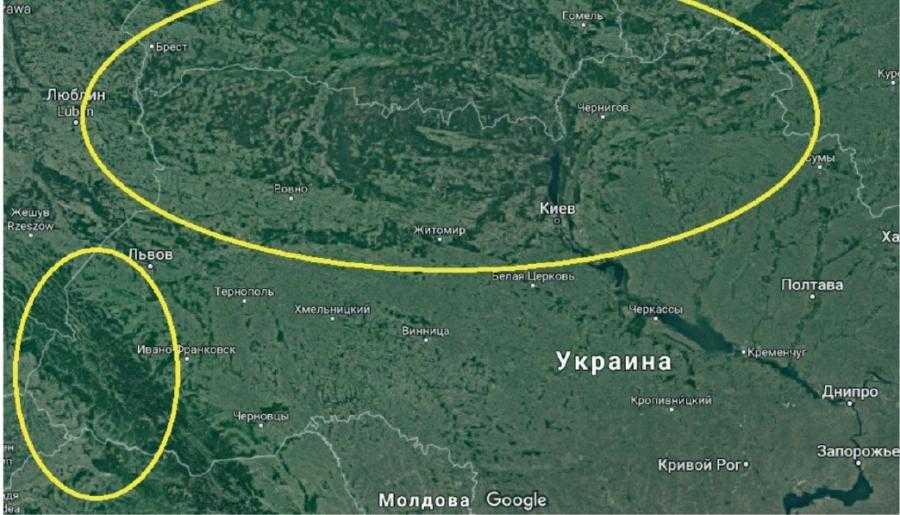 Рис. 2. Распространение песчаных почв в Украине. Помечены регионы, имеющие наибольшее количество песчаных почв, – Черниговская (особенно правый берег Десны), Житомирская, Ривненская, Волынская и Киевская области. Таких почв много и в ИваноФранковской области, а также на югозападе Одесской области. Часто встречаются они и в других регионах