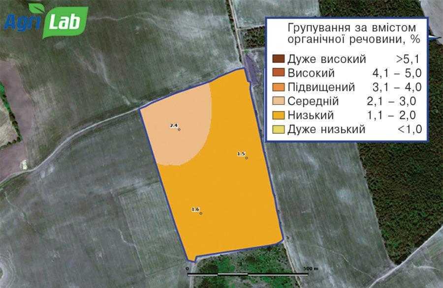 Рис. 2. Картограма вмісту органічної речовини (%)
