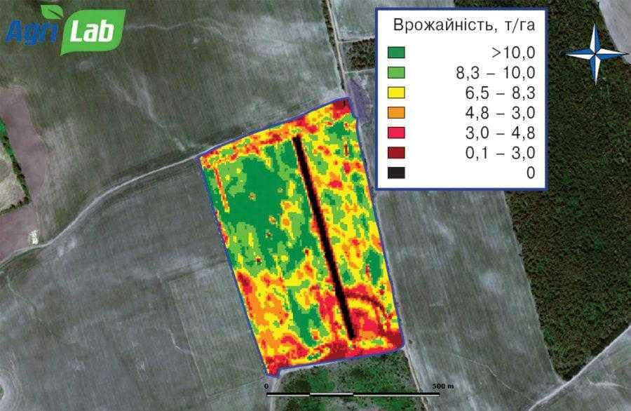 Рис. 3. Карта врожайності кукурудзи на зерно, 2018 р.