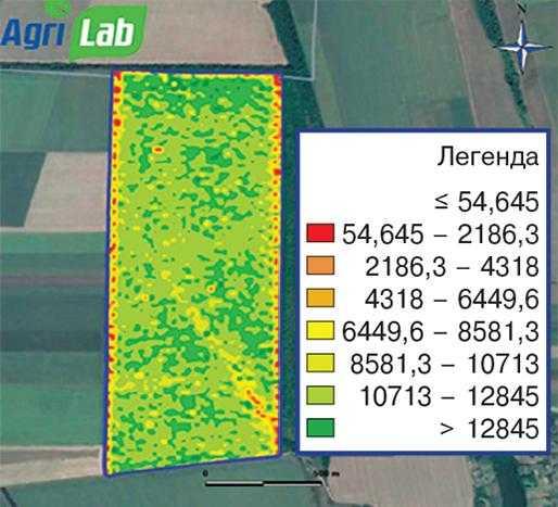 Рис. 6. Карта врожайності кукурудзи на зерно, 2018 р.